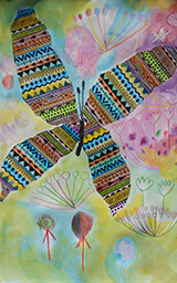 蝴蝶   封面創作│伊甸萬芳啟能中心學員剪裁過的蝴蝶呈現出立體感,還加上了各種不同花卉圖案、增加豐富性,最後上滿了柔和色系的水彩當做背景,帶給人彩色、繽紛的歡愉感。