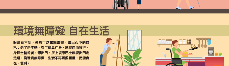 環境無障礙 自在生活眼睛看不到,依然可以拿筆畫畫,畫出心中的自己;老了走不動,有了輔具在身,就能自由移行。身障坐輪椅者,想出門,搭上復康巴士就能出門走透透。當環境無障礙,生活不再困難重重,而能自在、便利。